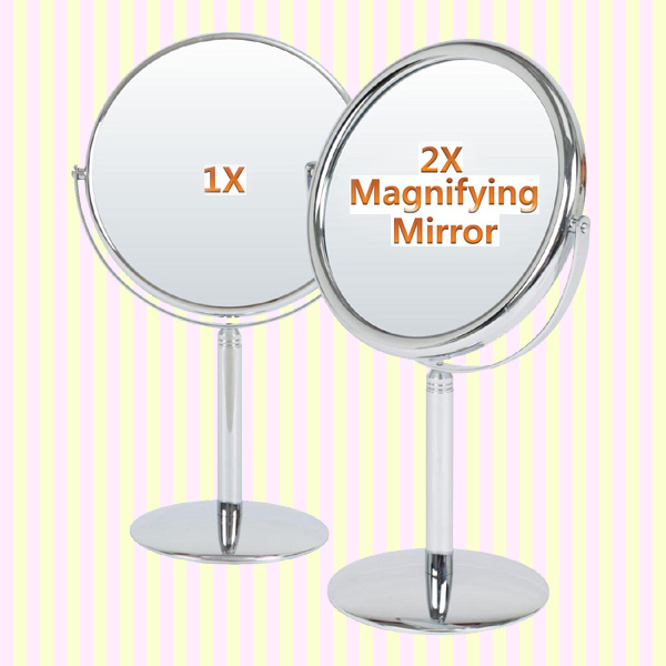 Shiny double sided makeup mirror with 2x magnifier(L)