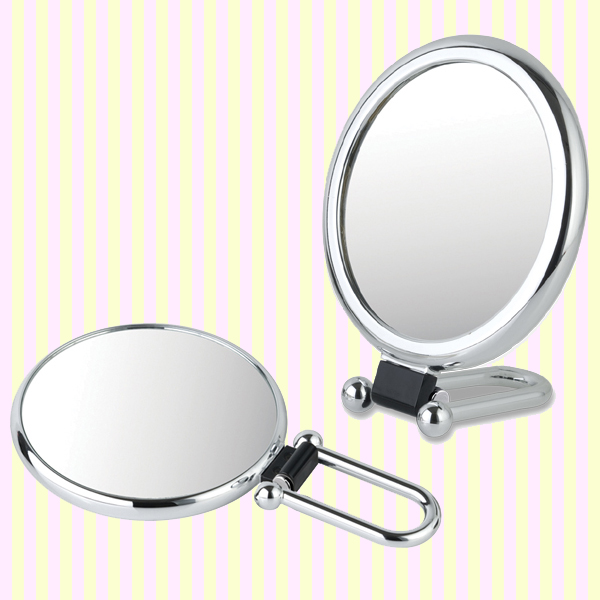 Shiny oval folding hand held mirror with 2x magnifier(M)-1