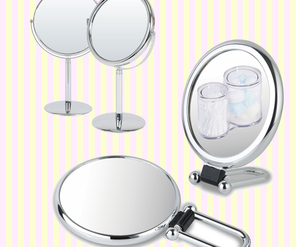 Shiny oval folding hand held mirror with 2x magnifier(M)