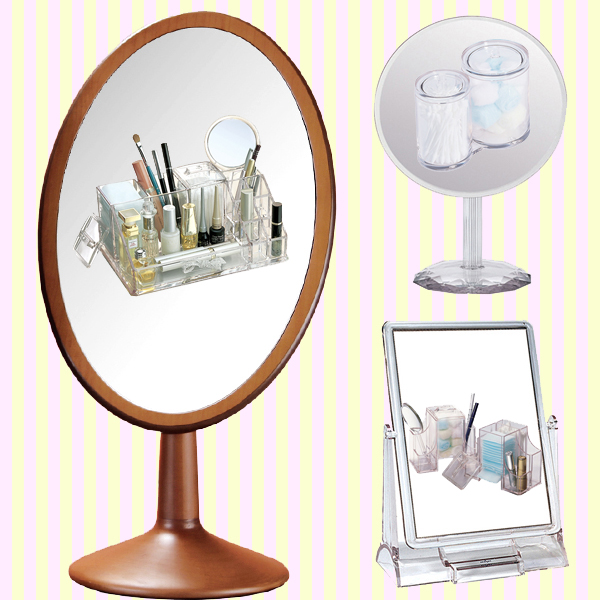 Wooden oval cosmetic mirror(L)-1