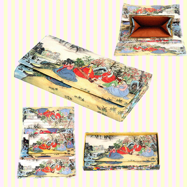 Korean Folk Art Tri-fold Long Wallet 한국 민속 3단 장지갑