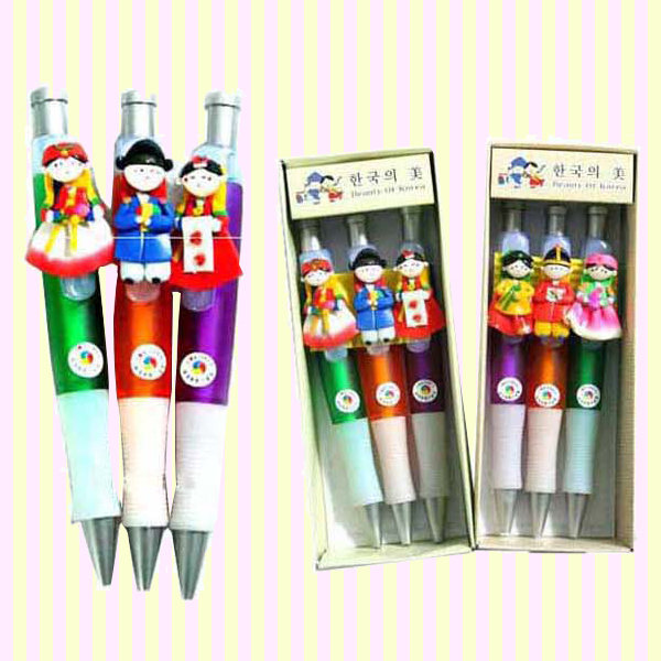 Korean folk figure colormix ball point pens(3pcs) 칼라믹스 볼펜(3개묶음)