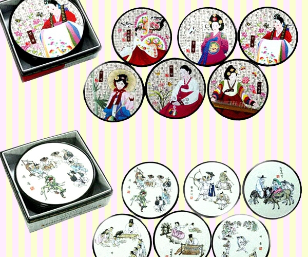 Korean traditional artwork coaster set 한국 민속 코스타셋