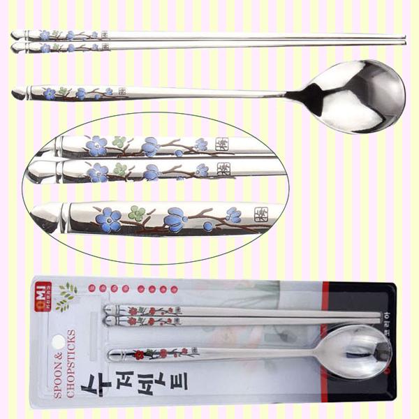 Plum Blossom spoon & chopstick set(blue)