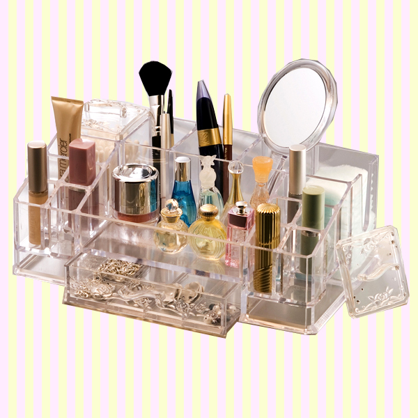 Transparent Cosmetic,Makeup, and Beauty Tools Organizer with a drawer(L) 화장대 정리함(대)