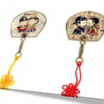 Korean traditional fan shape couple book mark