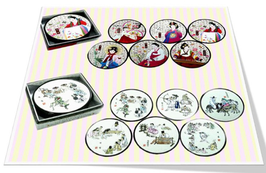 Korean Traditional Artwork Coaster(1set)/Korean souvenir gifts 한국 민속 코스타셋