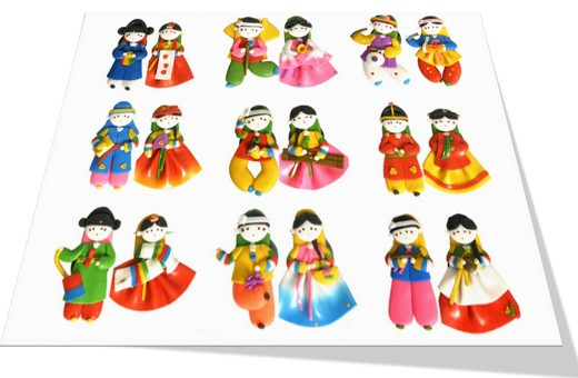 Korean Traditional Couple Figure Colormix Fridge Magnets(10pairs) 칼라믹스 커플 냉장고자석(10쌍)