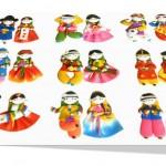 Korean traditional figure couple magnet(10 pairs) 한국 전통 칼라믹스 커플 냉장고 자석(10쌍)