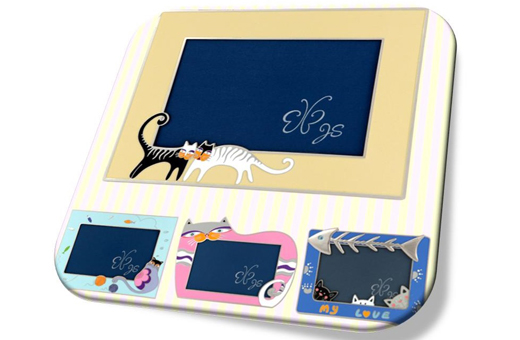 Adorable Cat Loving Picture Frame(sky blue/lemon)/러브 캣 액자(스카이블루/레몬)