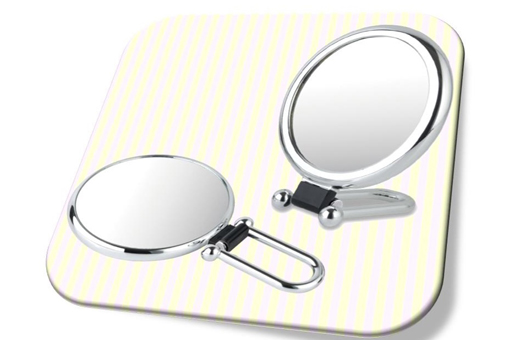 Shiny oval folding hand held mirror with 2x magnifier(M) 샤인 폴더 손거울(중)