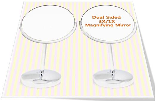 Shiny Double Sided Magnifying Mirror(M/1X/3X)  샤인 양면 탁상거울(중/3배 확대경 겸용)