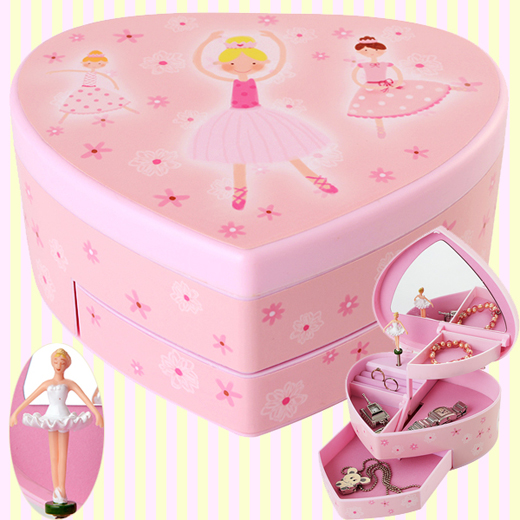 Heart ballerina automatic musical jewelry box