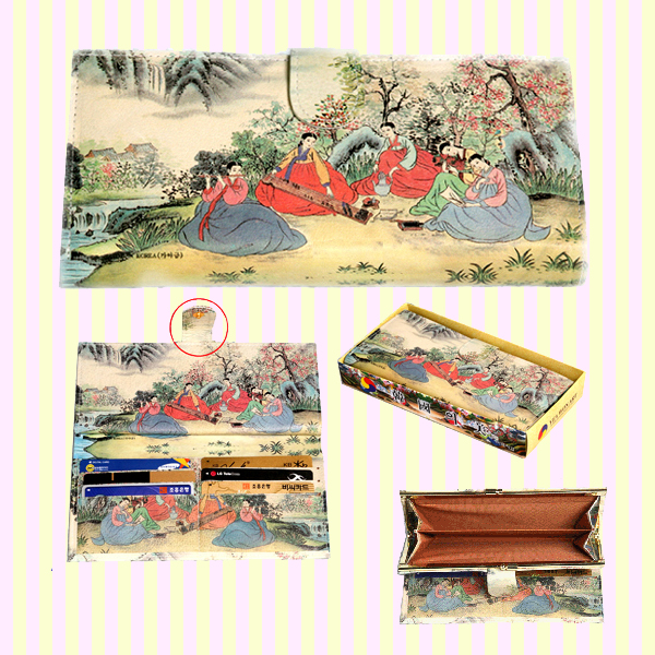 Korean Folk Art Tick-tock Long Leather Wallet 한국 민속 후렌치 장지갑