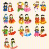 Korean Traditional Couple Figure Colormix Fridge Magnets(10pairs) 칼라믹스 커플 냉장고자석(10쌍묶음)