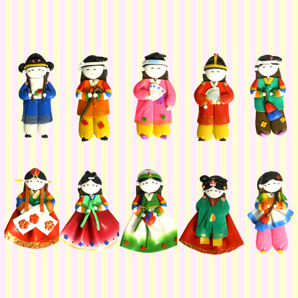 Korean Traditional Figure Colormix Fridge Magnets(10pcs) 칼라믹스 싱글 냉장고자석(10개묶음)
