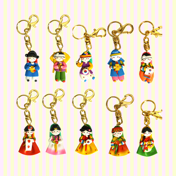 Korean Traditional Figure Key Rings(10pcs) 칼라믹스 열쇠고리(10개묶음)