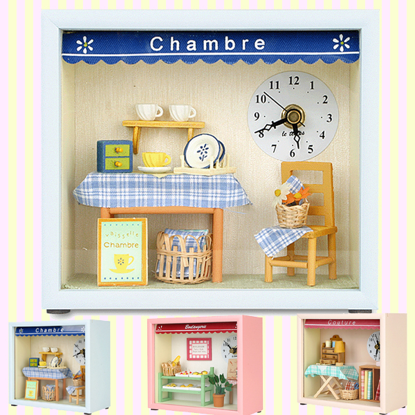 Dollhouse Kitchen Table and Wall Clock 돌하우스 샹브르 주방시계(벽시계 겸용)