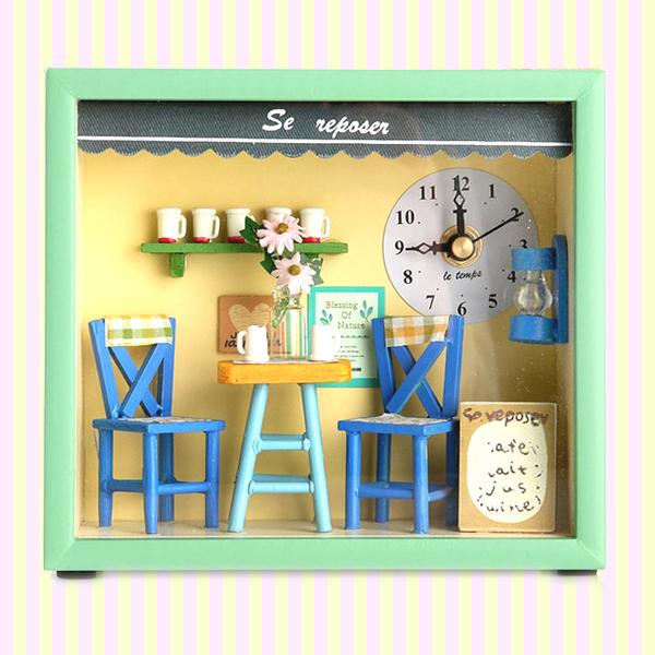 Dollhouse Coffee Shop Table & Wall Clock 돌하우스 커피샵 시계 (벽시계 겸용)