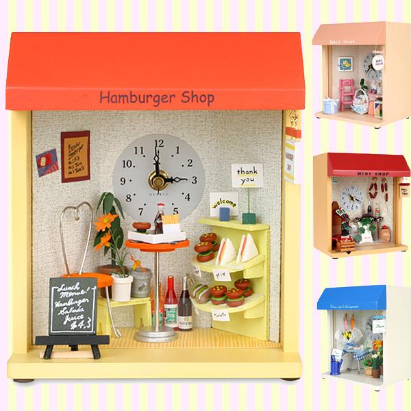 Dollhouse Miniature Hamburger Shop Table and Wall Clock 돌하우스 미니어처 햄버거샵 시계(벽걸이 겸용)