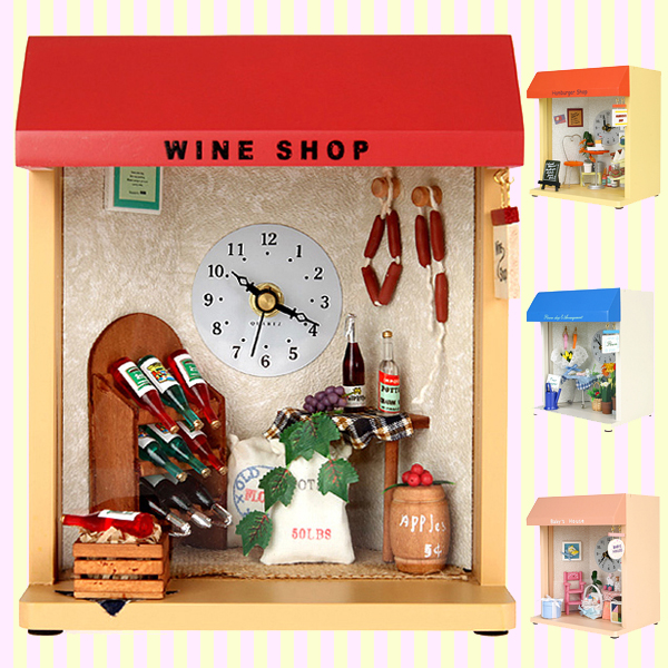 Dollhouse Miniature Wine Shop Table and Wall Clock 돌하우스 미니어처 와인샵 시계(벽걸이 겸용)