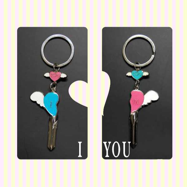 """I Love You"" Angel Wings Couple Key Chain 아이러브유 천사 커플 열쇠고리"