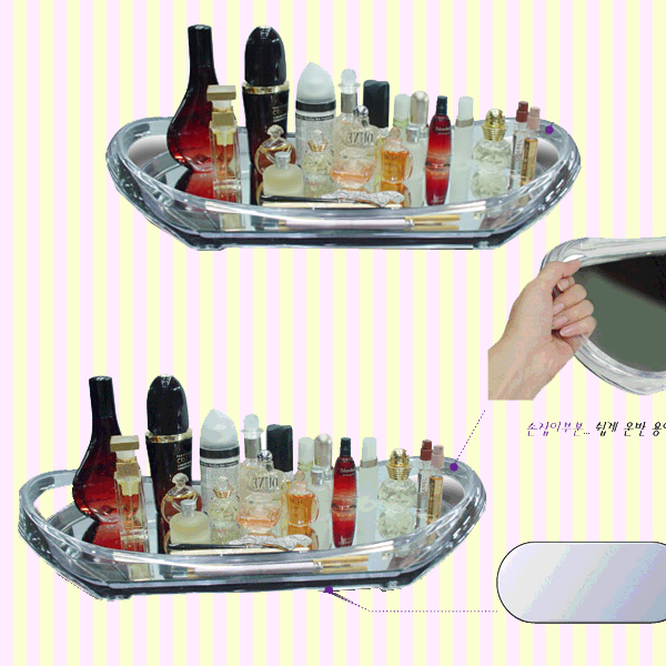 Transparent Cosmetic Display Mirror Tray(L) 샤인 아트 쟁반거울(대)