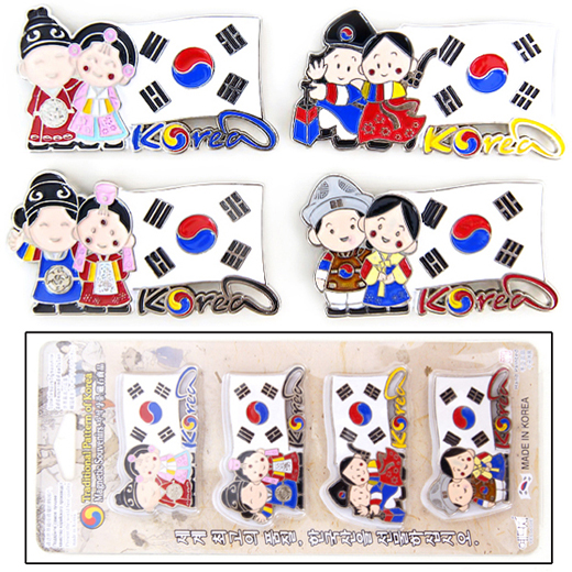 Charming and high quality fridge magnets with design of Korean traditional couples in national flag called Taegukgi (태극기)