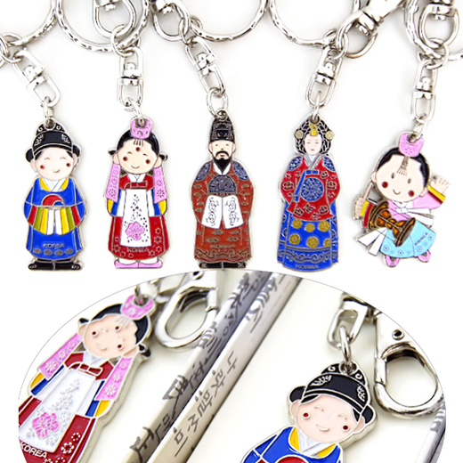 Charming and high quality keychains with design of both Korean traditional people in folk costume and carved Korean old language.